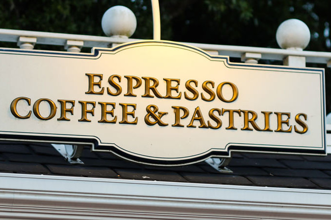 Espresso, Coffee, and Pastries - Epcot Dining Kiosk Sign