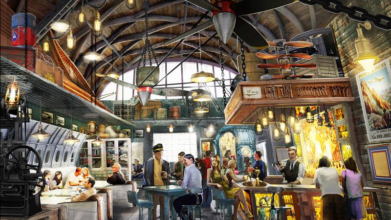Jock Lindsey's Hangar Bar - Concept Art Interior - Indiana Jones Bar at Downtown Disney Bar