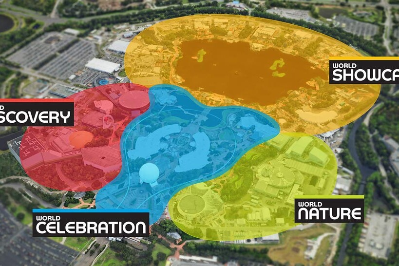 Epcot - Four Neighborhoods Map
